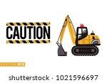 vector toy crawler excavator... | Shutterstock .eps vector #1021596697