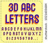 vector set of handwritten 3d... | Shutterstock .eps vector #1021603684