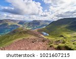 Small photo of Views of Lake Buttermere & Bleaberry Tarn on route to the summit of Red Pike with Wandope, Robinson, Dale Head and Fleetwith Pike in the distance. The English Lake District, UK.