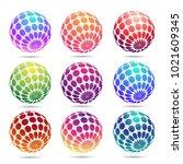 multicolored decorative balls. | Shutterstock .eps vector #1021609345