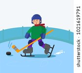 boy playing ice hockey | Shutterstock .eps vector #1021619791