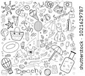 a set of doodles on a summer... | Shutterstock .eps vector #1021629787