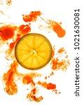 slice of orange with colored ink | Shutterstock . vector #1021630081