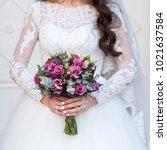 wedding bouquet of flowers | Shutterstock . vector #1021637584