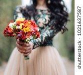 wedding bouquet of flowers | Shutterstock . vector #1021637587