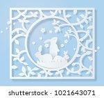 happy easter day  frame of... | Shutterstock .eps vector #1021643071