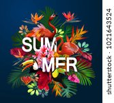 summer background with tropical ... | Shutterstock .eps vector #1021643524