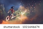 man with fancy clothes riding...   Shutterstock . vector #1021646674