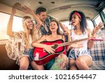 group of friends travelling... | Shutterstock . vector #1021654447