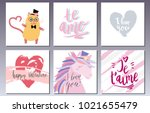 valentines day postcards set... | Shutterstock .eps vector #1021655479