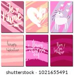valentines day postcards set... | Shutterstock .eps vector #1021655491