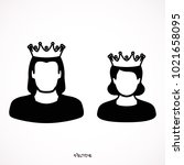 king and queen icons in simple... | Shutterstock .eps vector #1021658095