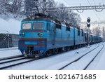 freight train in winter | Shutterstock . vector #1021671685