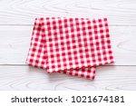 kitchen cloth  napkin  on wood... | Shutterstock . vector #1021674181