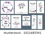 card templates set with spring... | Shutterstock . vector #1021685341