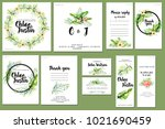 card templates set with summer... | Shutterstock . vector #1021690459