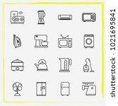 home appliances line icon set... | Shutterstock .eps vector #1021695841
