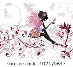 flower fairy with butterflies | Shutterstock .eps vector #102170647