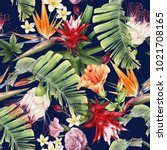 seamless floral pattern with... | Shutterstock . vector #1021708165