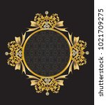 golden mirror frame with... | Shutterstock .eps vector #1021709275