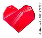 red crystal heart isolated on... | Shutterstock . vector #1021722991