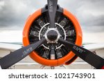 Small photo of Closeup of airplane propeller on a runway