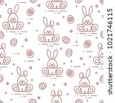 seamless pattern with easter... | Shutterstock .eps vector #1021746115