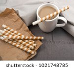 chocolate wafer sticks and cup...   Shutterstock . vector #1021748785