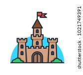 castle tower icon. | Shutterstock .eps vector #1021749391