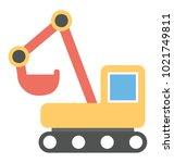 excavator vector icon in flat... | Shutterstock .eps vector #1021749811