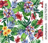 seamless hand drawn tropical... | Shutterstock . vector #1021752934
