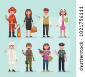 set of occupations | Shutterstock .eps vector #1021756111