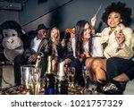 multi ethnic group of friends... | Shutterstock . vector #1021757329