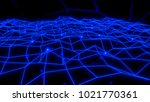 glowing wireframe network with... | Shutterstock . vector #1021770361