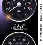 retro speedometer. tachometer....   Shutterstock .eps vector #1021771561