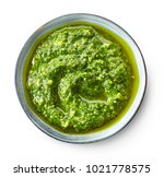 bowl of basil pesto isolated on ... | Shutterstock . vector #1021778575