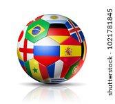 3d football soccer ball with... | Shutterstock . vector #1021781845