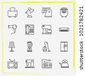 home appliances line icon set... | Shutterstock .eps vector #1021782421
