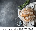 fresh homemade bread on a linen ... | Shutterstock . vector #1021792267