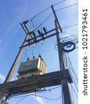 high voltage pole pot large... | Shutterstock . vector #1021793461