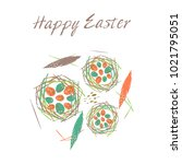 happy easter.  illustration on... | Shutterstock . vector #1021795051