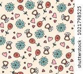 love symbols seamless pattern.... | Shutterstock .eps vector #1021798525