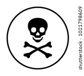 skull and bones icon in circle | Shutterstock .eps vector #1021798609