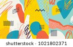 Stock vector creative doodle art header with different shapes and textures collage vector 1021802371
