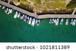 aerial photo of docked boats in ... | Shutterstock . vector #1021811389