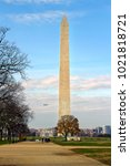 the washington monument in... | Shutterstock . vector #1021818721