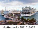 las palmas de gran canaria ... | Shutterstock . vector #1021819609
