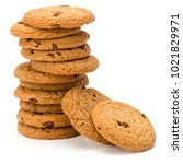 stacked chocolate chip cookies... | Shutterstock . vector #1021829971