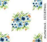 floral watercolor seamless... | Shutterstock . vector #1021839661