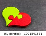 a heart of chocolate  with two... | Shutterstock . vector #1021841581